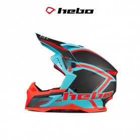 CASCO HEBO MX LEGEND CARBON AZUL/ROJO